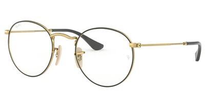 Ray Ban RX3447V Round Metal Black/Gold Glasses