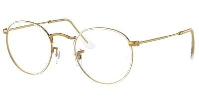 Ray Ban RX3447V Round Metal White/Gold Glasses