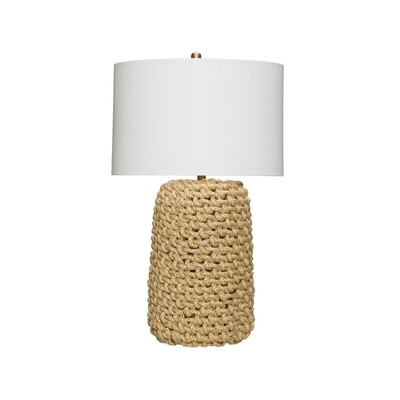 Jute Rope Table Lamp with Linen Shade