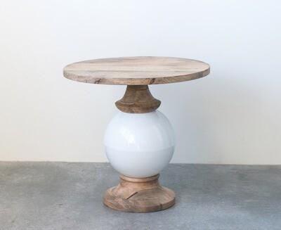 Mango Wood & Metal Round Pedestal Table