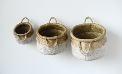 White & Beige Seagrass Baskets (Set of 3 Sizes)