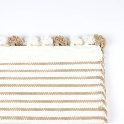 Bath Mat-beige stripes