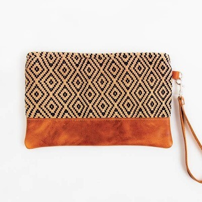 Diamond Brocade & Leather Wristlet