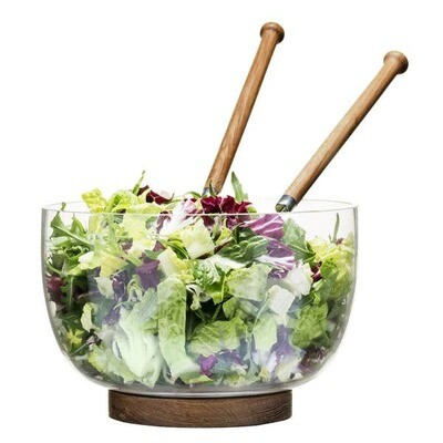 Salad Bowl with Oak Trivet