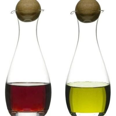 Oak Oil/Vinegar bottles w oak stoppers