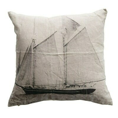Square Linen Printed Pillow with Sailboat