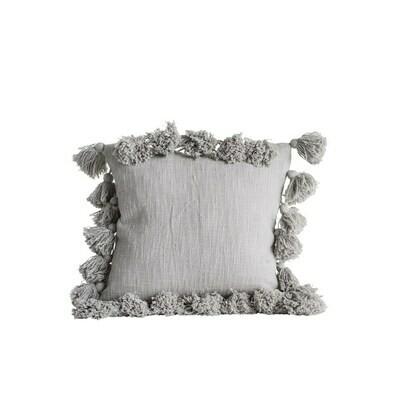 Grey Tassel Pillow