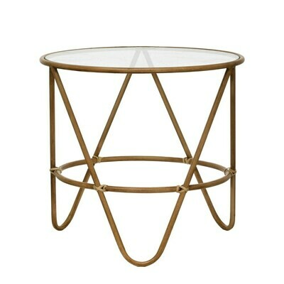Metal Bamboo-Style Table with Glass Top