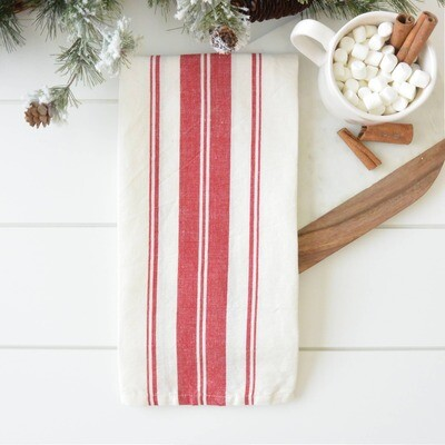 Cabana Stripe Tea Towel - Red/Wht