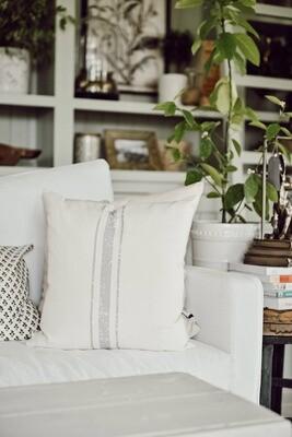 3 Stripe Pillow- Grey