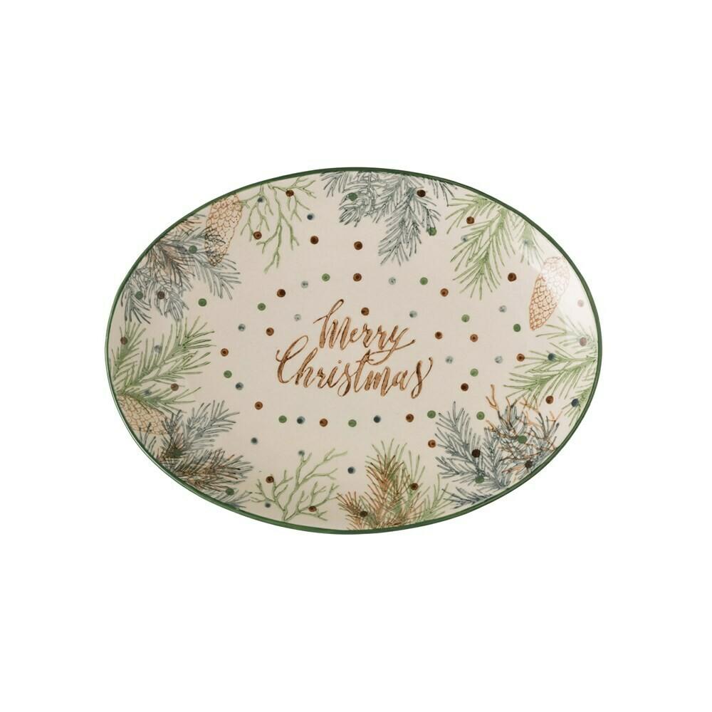 Stoneware Oval Platter w/ Pine Foliage