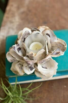 Oyster Shell Flower Votive Holder