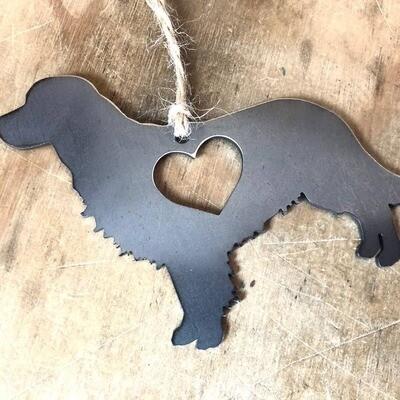 Golden Retriever Dog Christmas Ornament with Heart