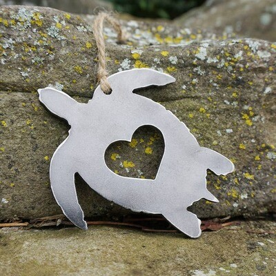 Sea Turtle Ornament with Heart made from Recycled Steel
