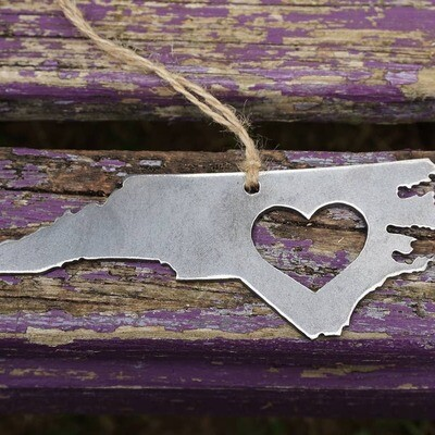 North Carolina State Ornament made from Recycled Raw Steel