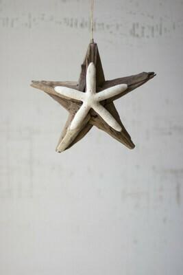 Driftwood Star Ornament w Starfish Detail