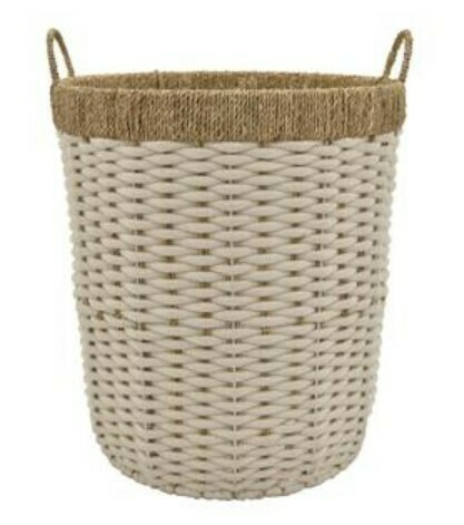Rope Laundry Basket - Wht/Tan