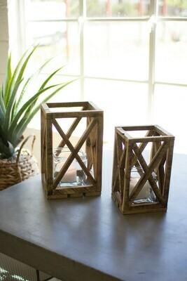 Recycled Wood Lanterns w Glass
