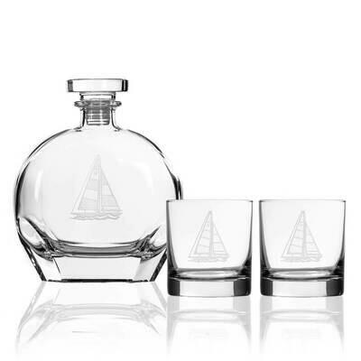 Sailboat 3 piece 14oz. Whiskey Set
