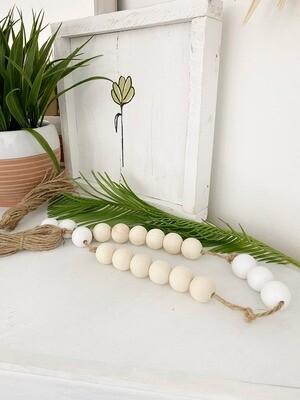 Wood Bead Knot Garland - White
