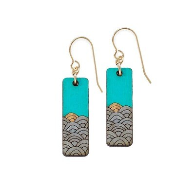 Sunrise Waves Wooden Earrings