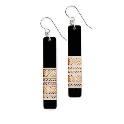 Earrings- Lines Long Teal