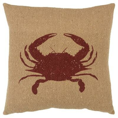 Square Khaki Pillow w Crab