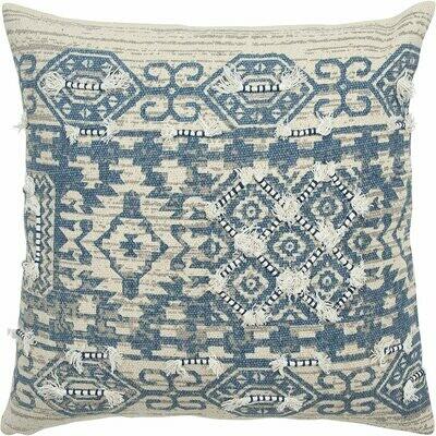 Square Blue/Cream Pillow w Dots - Rizzy