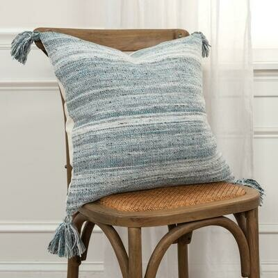 Square Blue/Cream Pillow w Tassels