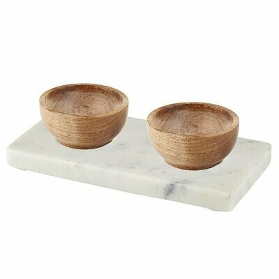 Double Bowl Marble Tray - White