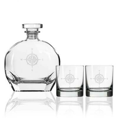 Compass Rose 3 piece 14oz. Whiskey Set