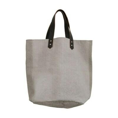 Cotton Canvas Handbag w/ Leather Handles