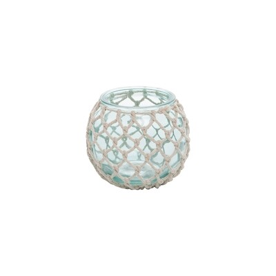 Turquoise Glass Tealight x Rope Weave
