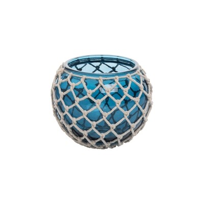 Blue Glass Tealight x Rope Weave