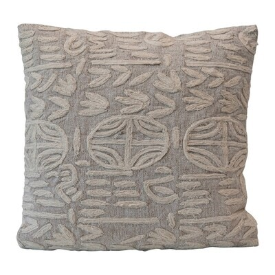 Grey Applique Pillow