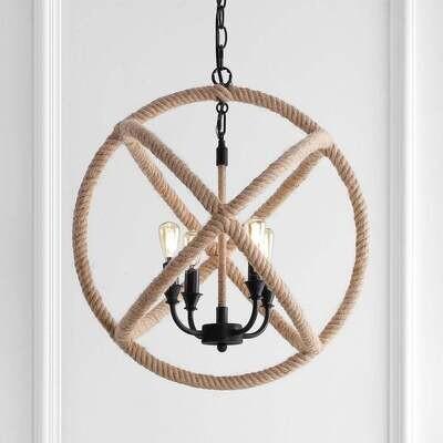 Round Rope Globe Pendant