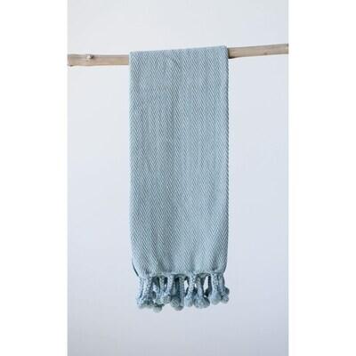 Cotton Throw w/ Braided Pom Poms