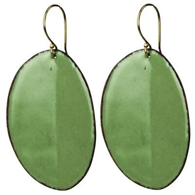 Earrings - Creased Oval Green