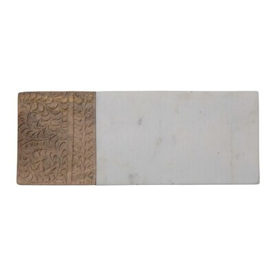 Engraved Mango Wood and Marble Serving Board