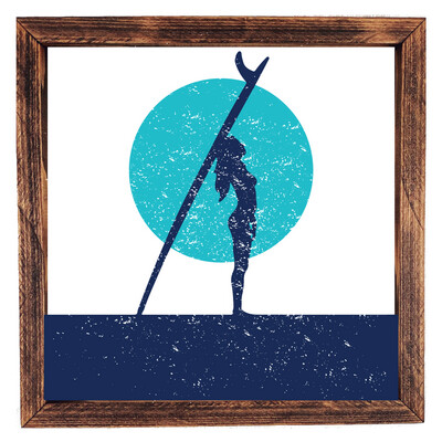 Surfer Girl at Sunset - Aqua/Blue