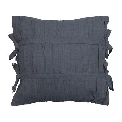 Navy Square Chambray Pillow