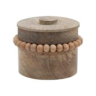 Mango Wood Box w Wood Beads & Lid