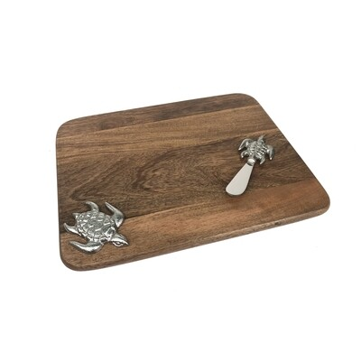 Wood/Metal Turtle Cutting Board & Knife