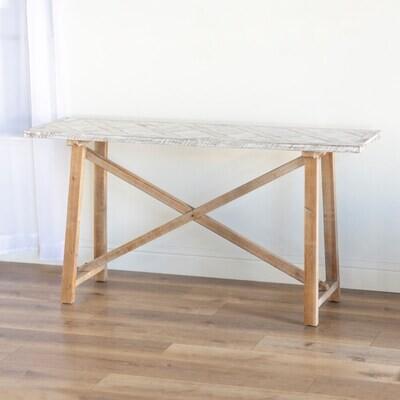 Wood/Wht Embossed Table