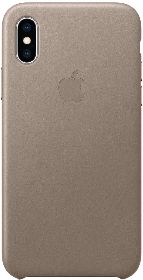 Apple Leather для iPhone XS (платиново-серый)