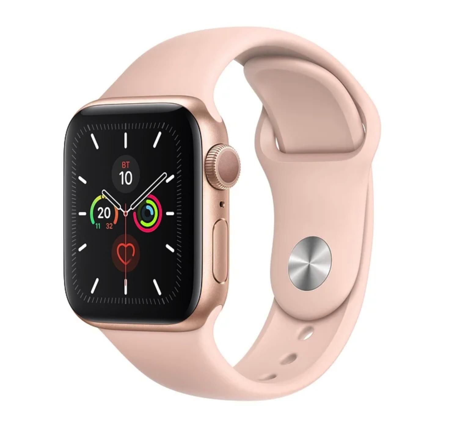 Часы Apple Watch Series 5 GPS 44mm Aluminum Case with Sport Band Gold (золотистый/розовый песок)