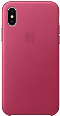 Apple Leather Case для iPhone X (розовая фуксия)