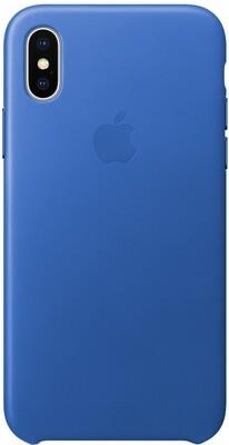 Apple Leather Case для iPhone X (синий электрик)