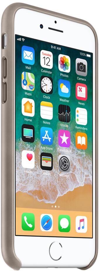 Apple Leather Case для iPhone 7/8 Plus (платиново-серый)