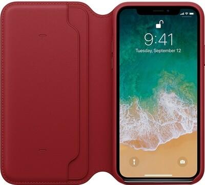 Apple Leather Folio для iPhone X (красный)